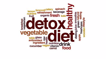 антиоксидант : Detox diet animated word cloud, text design animation.