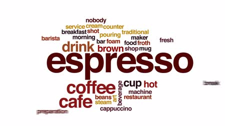 kufel : Espresso animated word cloud, text design animation. Wideo