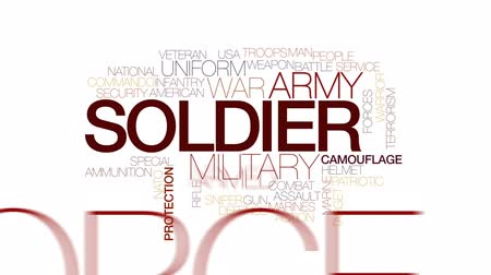 veterano : Soldier animated word cloud, text design animation. Kinetic typography. Stock Footage