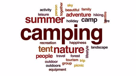 razem : Camping animated word cloud, text design animation. Wideo