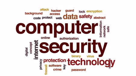 kodeks : Computer security animated word cloud, text design animation. Wideo