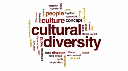 культурный : Cultural diversity design animated word cloud, text design animation.