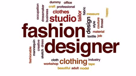 szkic : Fashion designer animated word cloud, text design animation.