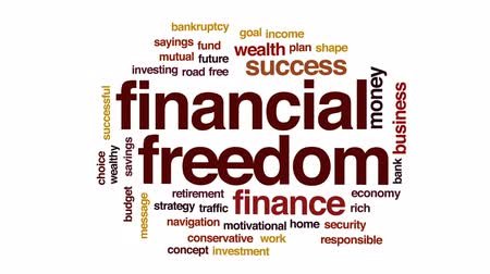 sayings : Financial freedom animated word cloud, text design animation.