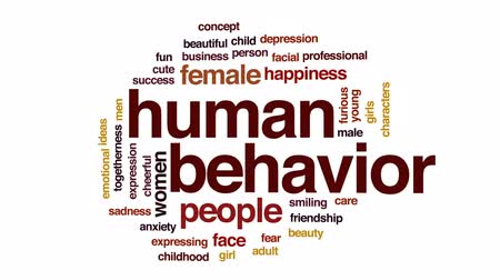 caracteres : Human behavior animated word cloud, text design animation.