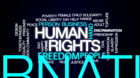 tutuklu : Human rights animated word cloud, text design animation. Stok Video