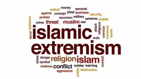 fenyegetés : Islamic extremism animated word cloud, text design animation.