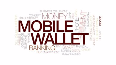 wallet : Mobile wallet animated word cloud, text design animation. Kinetic typography.