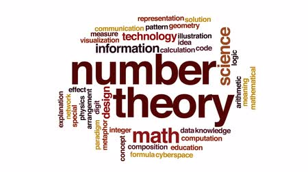 aritmetický : Number theory animated word cloud, text design animation.