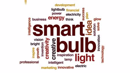 innowacje : Smart bulb animated word cloud, text design animation.