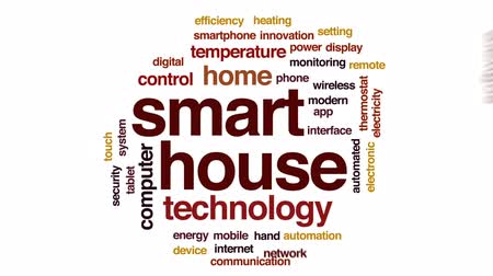 termostat : Smart house animated word cloud, text design animation.