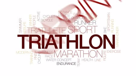 maraton : Triathlon animated word cloud, text design animation. Kinetic typography.