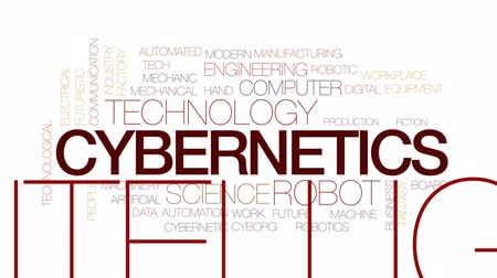 automatyka : Cybernetics animated word cloud, text design animation. Kinetic typography.