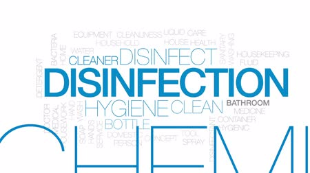 disinfectant : Disinfection animated word cloud, text design animation.  Kinetic typography.