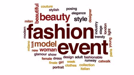 milan fashion : Fashion event animated word cloud, text design animation.