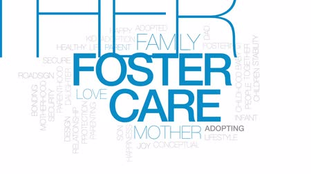 bonding : Foster care word cloud, text design animation.  Kinetic typography.