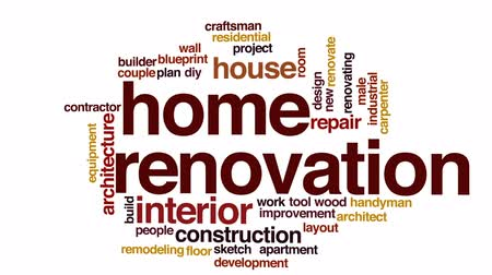 caseiro : Home renovation animated word cloud, text design animation.