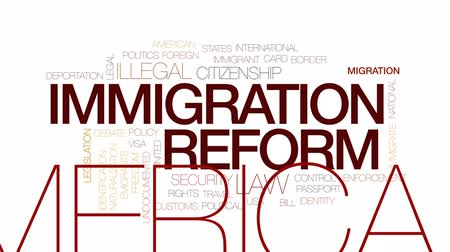 legislação : Immigration reform animated word cloud, text design animation. Kinetic typography.