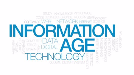 idade média : Information age animated word cloud, text design animation.  Kinetic typography.