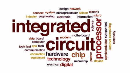 integrado : Integrated circuit architecture animated word cloud, text design animation. Stock Footage