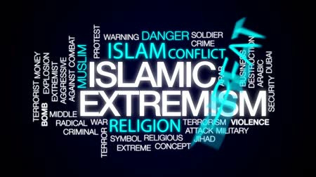 terrorist attack : Islamic extremism animated word cloud, text design animation.