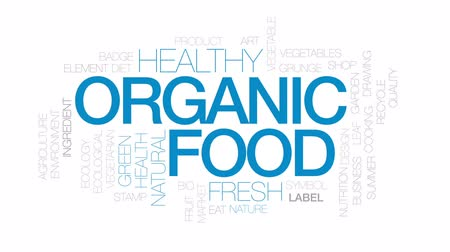 reciclagem : Organic food animated word cloud, text design animation.  Kinetic typography.