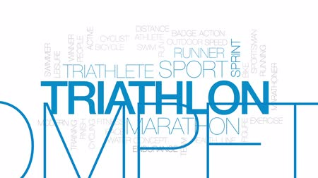 executar : Triathlon animated word cloud, text design animation.  Kinetic typography. Stock Footage