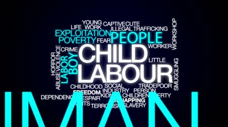 abuso : Child labour animated word cloud, text design animation.