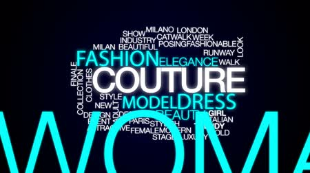 milan fashion : Couture animated word cloud, text design animation. Stock Footage
