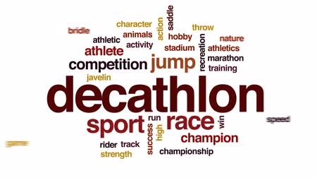 nyereg : Decathlon animated word cloud, text design animation.