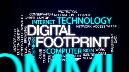 следы : Digital footprint animated word cloud, text design animation. Стоковые видеозаписи