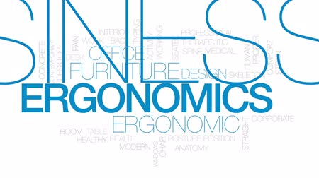 ergonomic : Ergonomics animated word cloud, text design animation. Kinetic typography.
