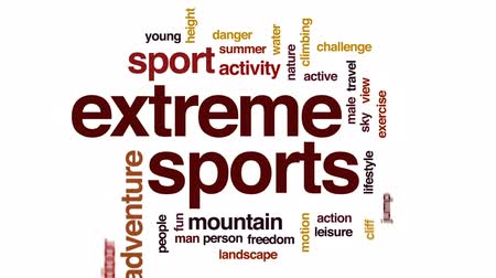 alpes : Extreme sports animated word cloud, text design animation.
