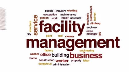 имущество : Facility management animated word cloud, text design animation. Стоковые видеозаписи