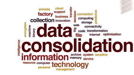 optimalizace : Data consolidation animated word cloud, text design animation.