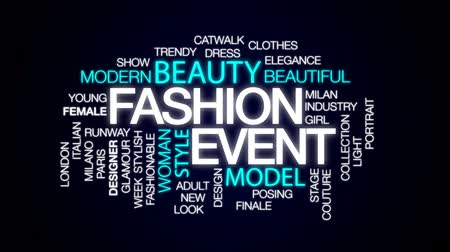 finale : Fashion event animated word cloud, text design animation.