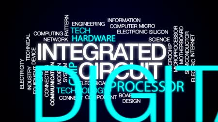 data cloud : Integrated circuit architecture animated word cloud, text design animation. Stock Footage