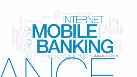 mobilitás : Mobile banking animated word cloud, text design animation. Kinetic typography.
