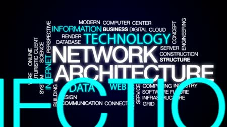 centrum : Network architecture animated word cloud, text design animation. Dostupné videozáznamy