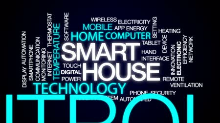 automatyka : Smart house animated word cloud, text design animation.