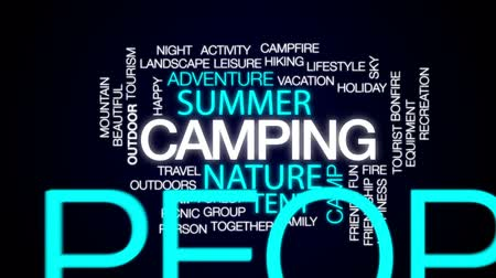 kamp ateşi : Camping animated word cloud, text design animation. Stok Video