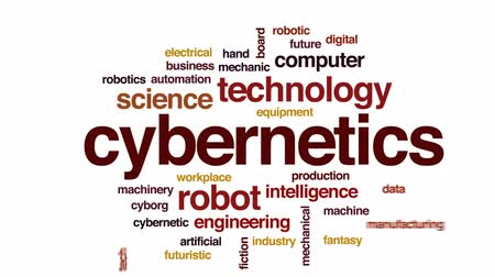 automatyka : Cybernetics animated word cloud, text design animation.
