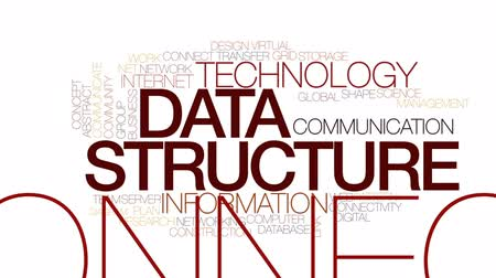 devir : Data structure animated word cloud, text design animation. Kinetic typography. Stok Video