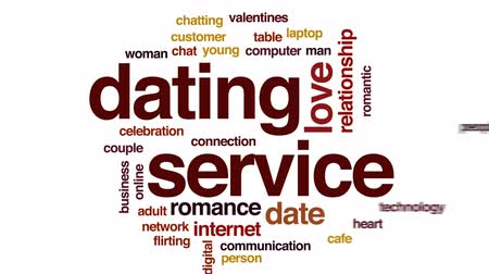 tarihleri : Dating service animated word cloud, text design animation. Stok Video