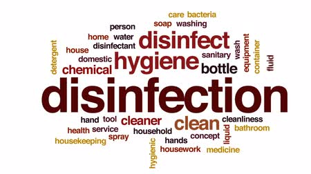 disinfectant : Disinfection animated word cloud, text design animation.