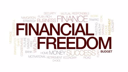 cíle : Financial freedom animated word cloud, text design animation. Kinetic typography.