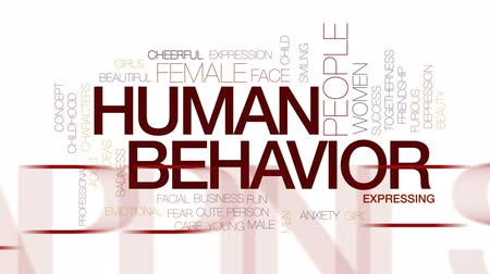 caracteres : Human behavior animated word cloud, text design animation. Kinetic typography. Stock Footage