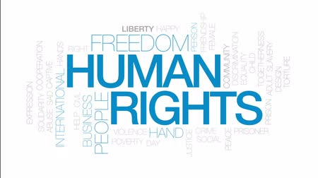 abuso : Human rights animated word cloud, text design animation. Kinetic typography.