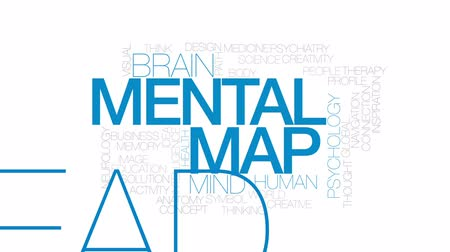 thought : Mental map animated word cloud, text design animation. Kinetic typography.