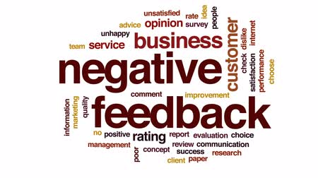 megjegyzés : Negative feedback design animated word cloud, text design animation. Stock mozgókép